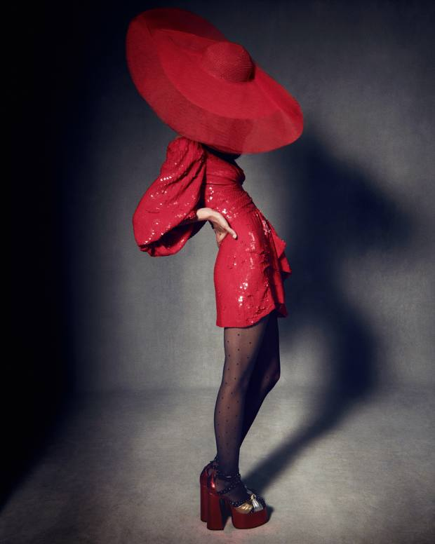 Celine embroidered silk and sequin Georgette dress, £7,900. Falke nylon tights, £18.99.Saint Laurent by Anthony Vaccarello leather platforms,£1,370. Harvy Santos stitched braid and tulle hat, price on request