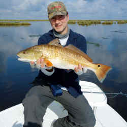 The author on the Delacroix Marsh in the Mississippi River Delta, holding a freshly caught, 9lb Louisiana Redfish