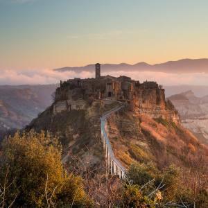 The medieval village ofCivita di Bagnoregio, which overlooks a 700m-deep canyon