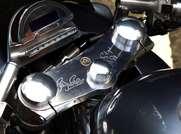 Barry and Stephanie Sheene's signatures, with Donald Duck logo.