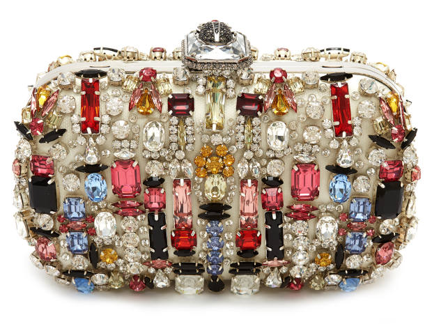 A unique embroidered clutch with multicoloured stones hand-applied by the Alexander McQueen atelier will also be among the 28 lots up for auction