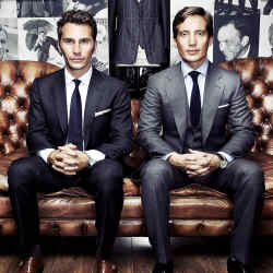 Luke Sweeney (left) and Thom Widdett, both in bespoke Thom Sweeney suits.