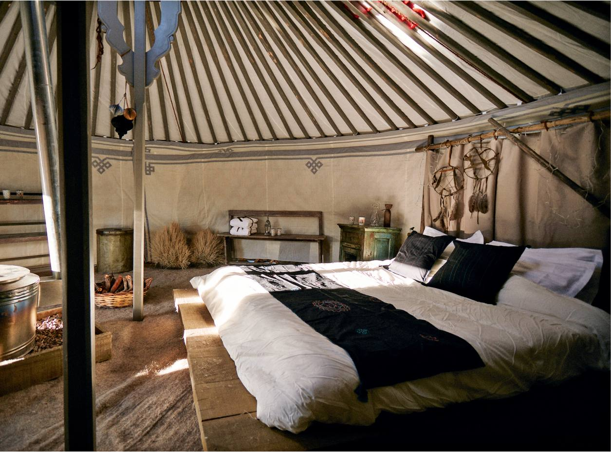 The interior of a yurt at Amazing Escapes' Napapiiri camp in Lapland