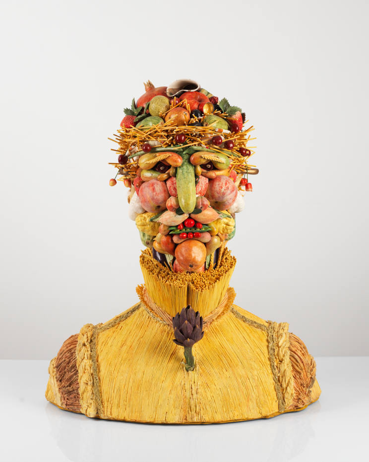 Italian duo Bertozzi & Casoni are represented at the exhibition by sculpted heads of fruits and flowers, from £70,000