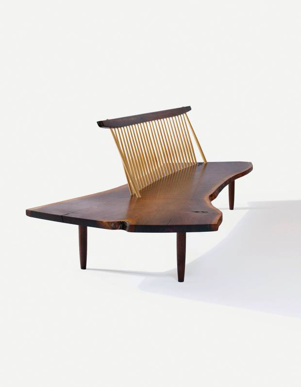 American black walnut Conoid bench by George Nakashima, about $15,000