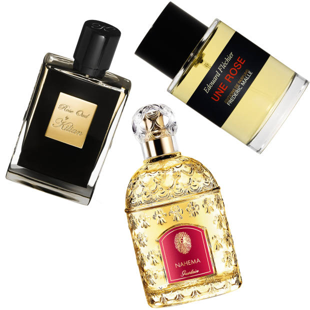 Clockwise from left: By Kilian Rose Oud, £285 for 50ml EDP. Frédéric Malle Une Rose, £235 for 100ml EDP. Guerlain Nahéma, £105 for 100ml EDP