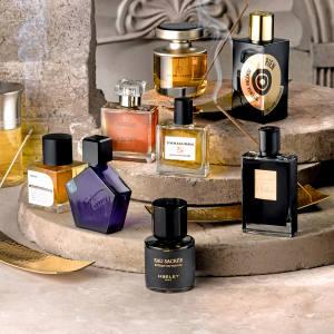 Clockwise from top left: Mona di Orio Myrrh Casati, £140 for75ml EDP. Etat Libre d'Orange Rien Intense Incense, £145 for 100ml EDP. By Kilian Incense Oud, £285for 50ml EDP. James Heeley Eau Sacrée, £170 for 50ml EDP. Tauer Perfumes Incense Extreme, £105 for 50ml EDP. Pryn Parfum Mogao, £115 for 50ml EDP. Liquides Imaginaires Sancti, £160 for 100ml EDP. Centre from left: Papillon Anubis, £128 for 50ml EDP. Bruno Fazzolari Ummagumma, £95for 30ml EDP