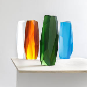 The crystal sculptures come in four colours, priced £16,000 each