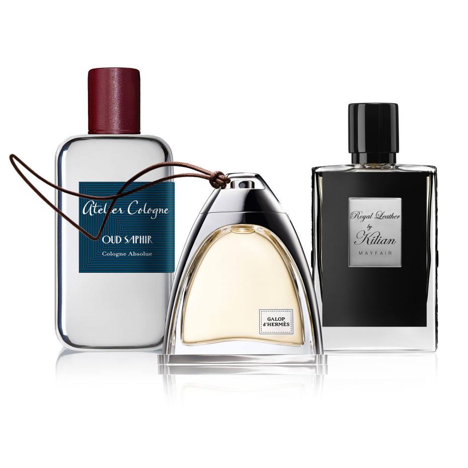 Atelier Cologne Oud Saphir, £160 for 100ml EDP. Hermès Galop, £183 for 50ml EDP. Kilian Royal Leather Mayfair, €235 for 50ml EDP