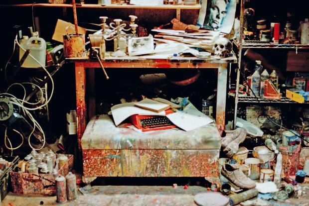 Coulter's studio in his Belfast garage
