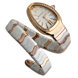 Bulgari Serpenti Spiga watch in rose gold  and ceramic with diamonds and ruby detail, £15,400. Also in other colours/materials