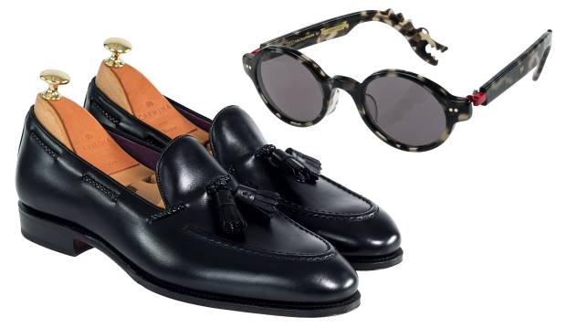 Carmina calfskin Uetam loafers, $450, and Nackymade Ethan sunglasses, $495, both stocked at The Armoury
