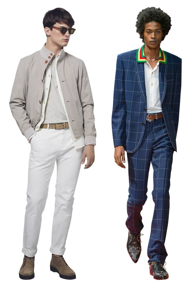 From left: MEHM+ technical nylon blouson, £495. Paul Smith wool blazer, £795, and matching trousers, £315