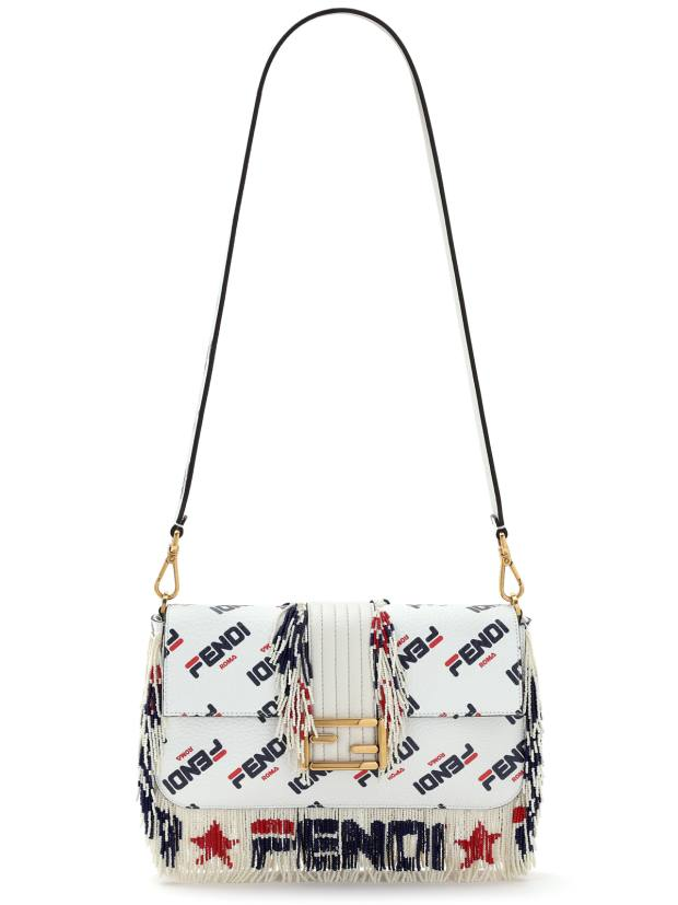 Fendi's Baguette bag is reworked in red, white and blue with an all-over logo and beaded fringing, £4,150