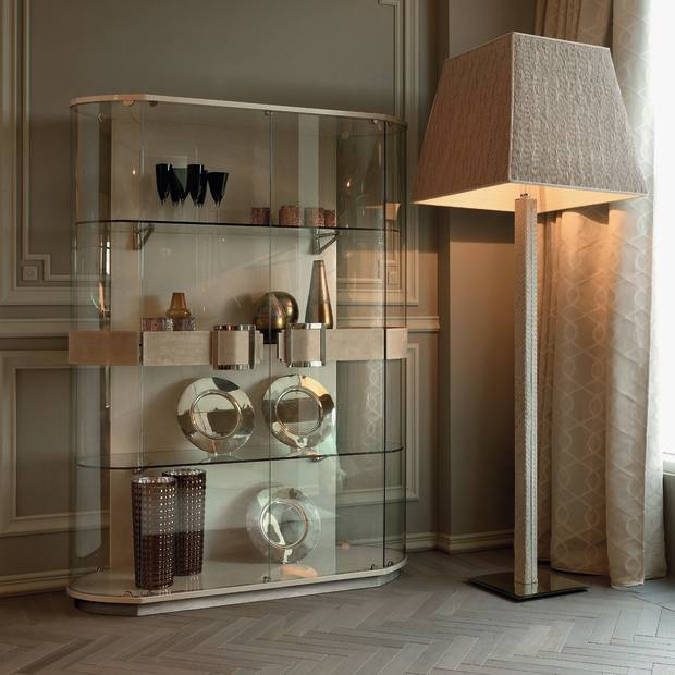 Taylor Llorente glass, oak and suede cabinet, £6,000