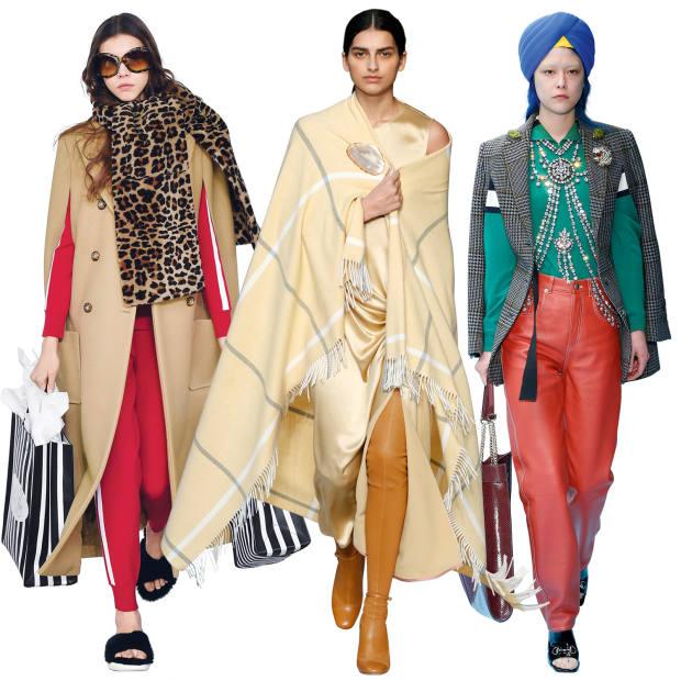 From left: Michael Kors melton-wool cape, £2,990. Roksanda wool blanket cape, price on request. Gucci wool cape, £1,970