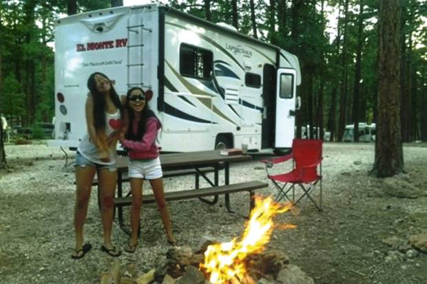 Patty's daughters, pictured camping near the Grand Canyon