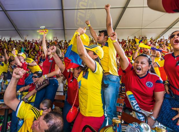 Colombia fans watching the World Cup in Montería