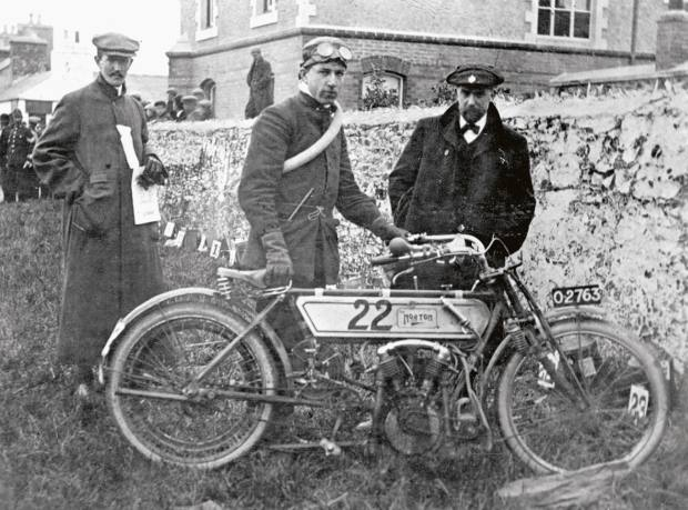Rembrandt Fowler with the 1907 TT Norton.