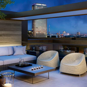 A terrace at Rathbone Square, Fitzrovia, penthouses from £4.475m