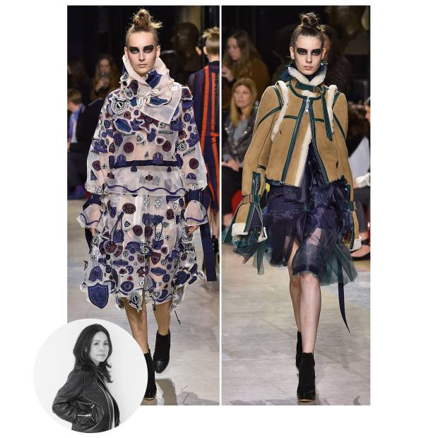 From left: Sacai polyester and cotton top, £1,850, and matching skirt, £1,075; and sheepskin and cowhide jacket, £2,970, and polyester skirt, £1,760