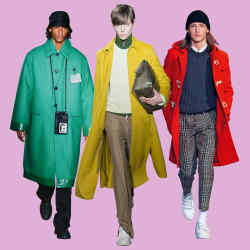 From left: Prada wool overcoat, £3,245. Valentino wool/cashmere coat, £2,450. Ami Paris wool-mix duffel, £810