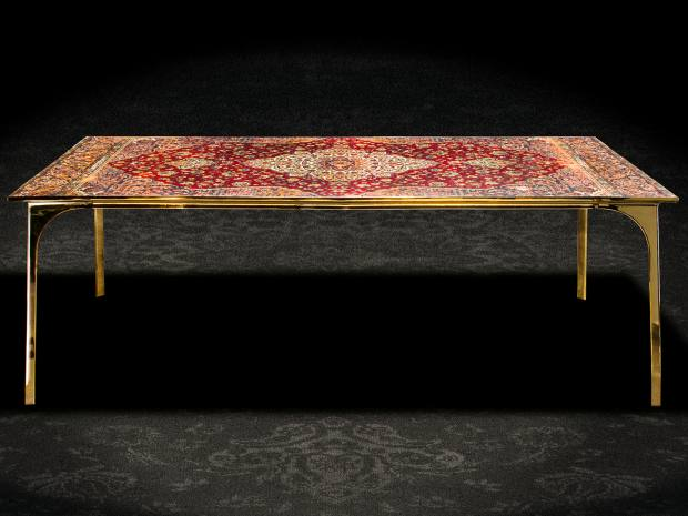 Ruben van Megen bronze, Persian carpet and epoxy Café 6116, from £12,000, from Mint