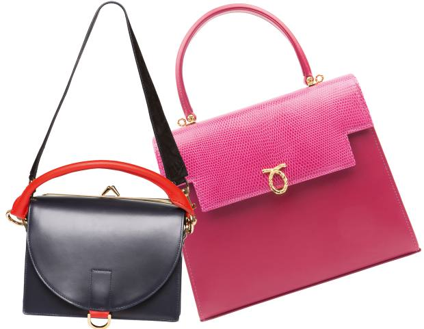 From left: Sacai leather That bag, £1,155. Launer calf and lizardskin Traviata bag, £2,190