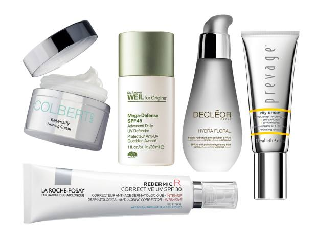 Clockwise from top far left: Colbert MD Retensify Firming Cream, £175 for 50ml. Dr Andrew Weil for Origins Mega-Defense Advanced Daily UV Defender SPF45, £30 for 30ml. Decléor Hydra Floral Anti-Pollution Hydrating Fluid SPF30, £41 for 50ml. Elizabeth Arden Prevage City Smart Hydrating Shield SPF50, £55 for 40ml. La Roche-Posay Redermic R Corrective UV SPF30, £29.50 for 40ml