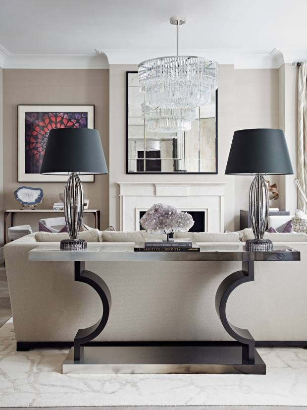This Taylor Howes-designed drawing-room for a townhouse in London's Hampstead features the Love at Dusk mahogany and silver-leaf Horizon console, £9,000