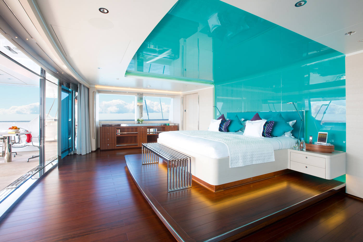 The master suite aboard Aquijo, Y.CO's sailing yacht, calling at Fiji and Southeast Asia this winter