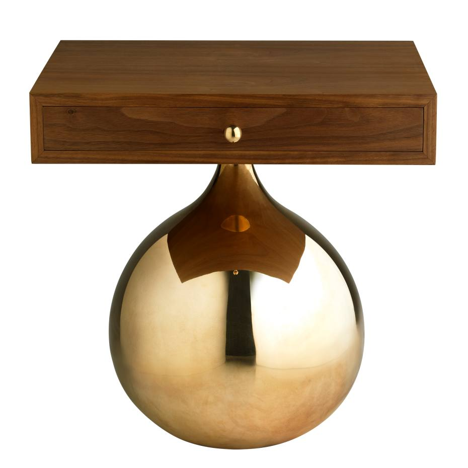 Amy Somerville Bauble side table (450cm x 450cm x 350cm) in black walnut and bronze, £5,100. Also in other finishes
