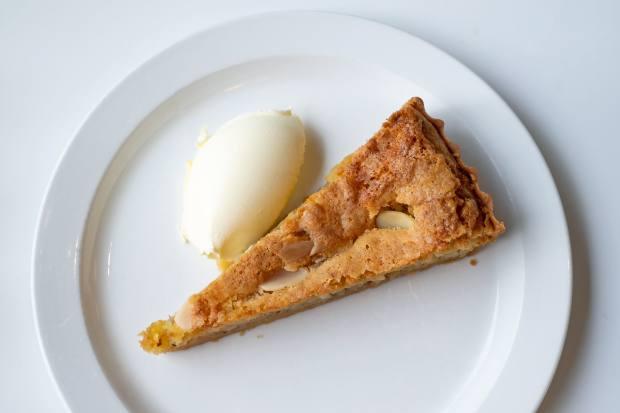 Pear and almond tart with clotted cream, £7, at Llewelyn's