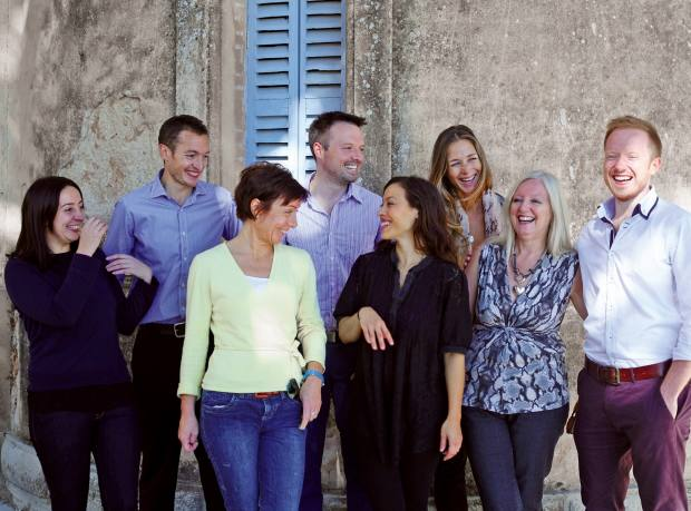 One of Bodhimaya's bespoke-wellbeing teams, with founders Cornelius (back row centre) and Daniel O'Shaughnessy (front row far right)