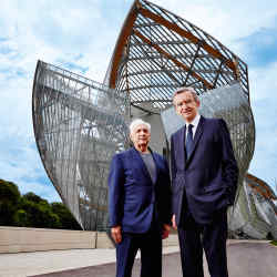 Frank Gehry (left) and Bernard Arnault outside the Foundation Louis Vuitton in Paris