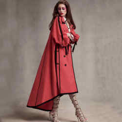 Burberry cotton gabardine trench, £1,695. Kenzo coated cotton trench (just seen), £1,165, and earrings, price on request. Christian Louboutin silk Moulin Noir Loubitag boots, £1,525