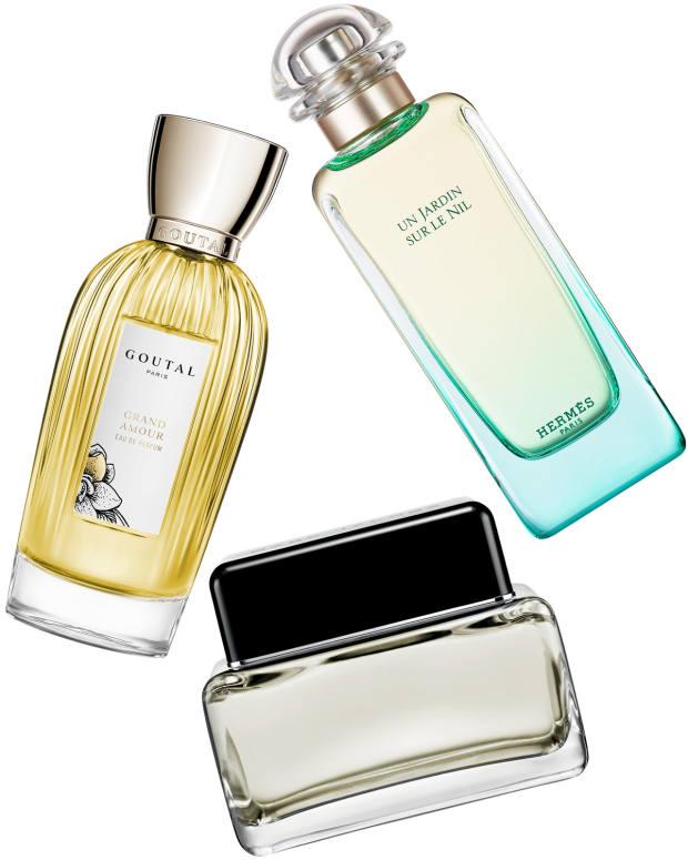 Clockwise from top left: Annick Goutal Grand Amour, €150 for 100ml EDP. Hermès Un Jardin sur le Nil, £89 for 100ml EDT. Marc Jacobs for Men, £68.50 for 125ml EDT