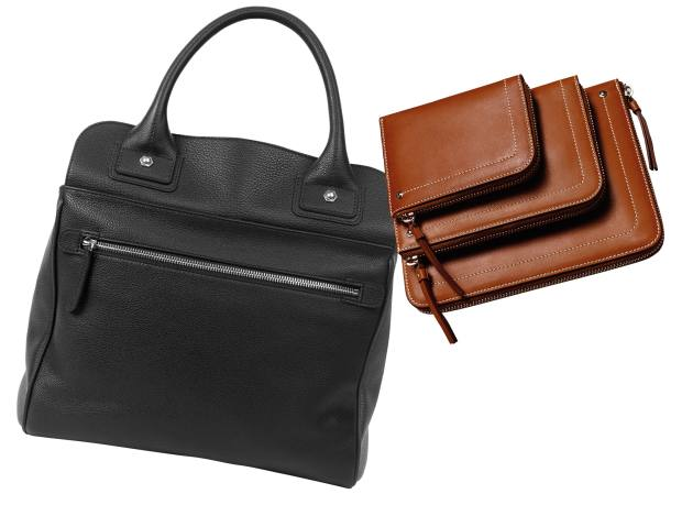 Clockwise from left: Connolly leather Sea bag, £1,450, small leather Hex wallet, £245, medium, £350, and large, £765