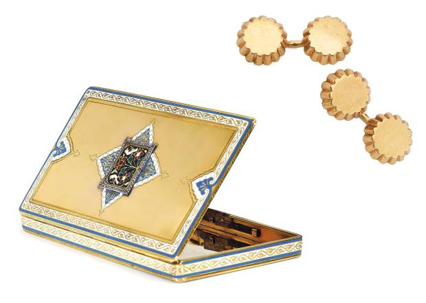 From left: Lavabre for Cartier gold, enamel, diamond and sapphire cigarette case, about £15,625-£23,435. Cartier gold cupcake cufflinks, £1,560-£2,345