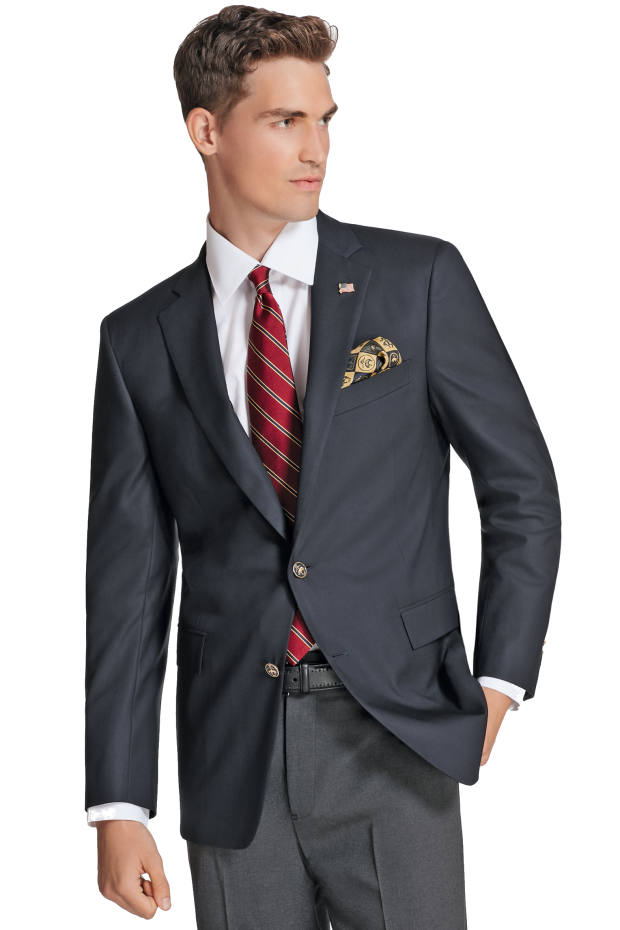 Brooks Brothers' signature navy blazer with a limited edition gold/navy satin check lining, £750