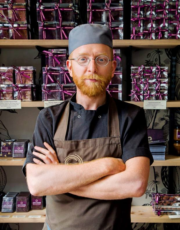 Master chocolatier Paul A Young in his flagship Soho shop