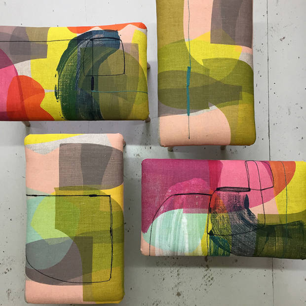 Sutton also produces footstools featuring abstract prints