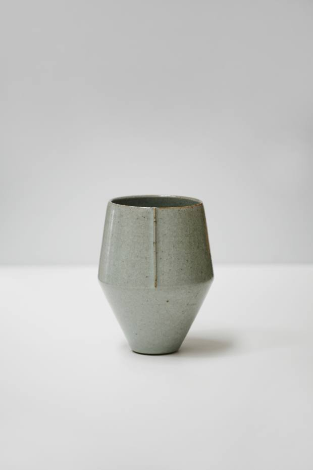 One of Gadsby's handmade, crackle-glaze vessels