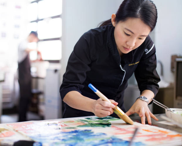 PastrychefJanice Wong who has devised the delicious painterly creations