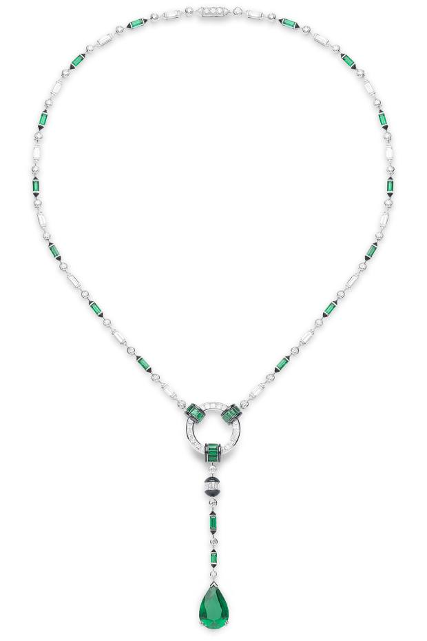 Boucheron gold, emerald and diamond Pluie Art Deco necklace, price on request