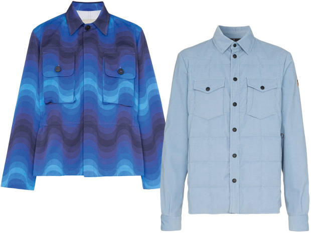 From left: Dries Van Noten wave cotton shirt jacket, £695. Moncler Grenoble cotton shirt jacket with down lining, £765