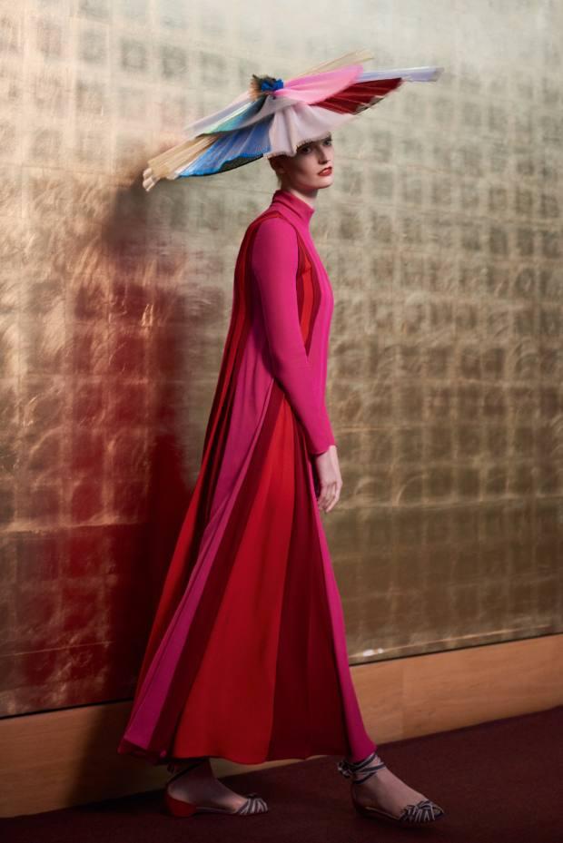 Valentino silk dress, £4,340. Christian Louboutin veau velours, denim and silk Christeriva shoes, £495. NoelStewart pleated lamé hat, £1,800