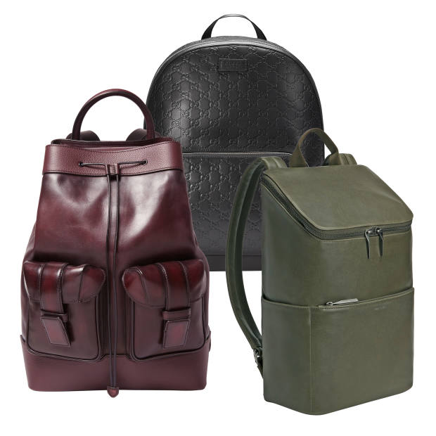Gucci leather Signature backpack, £1,250. Matt & Nat vegan leather Dean backpack, £140. Berluti calfskin Horizon backpack, £2,150