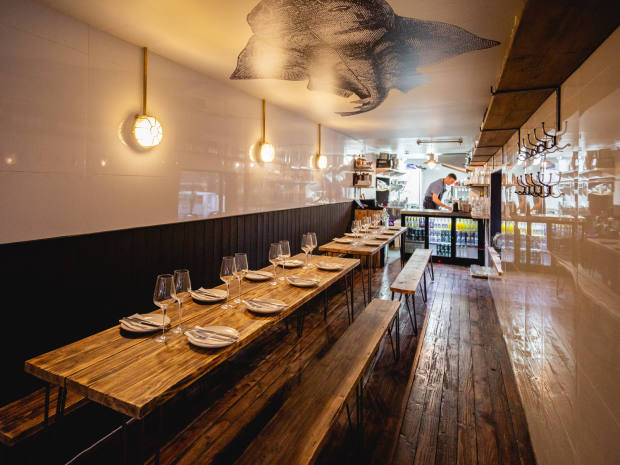 The sleek interior at Roe, the latest addition to foodie destination Pop Brixton