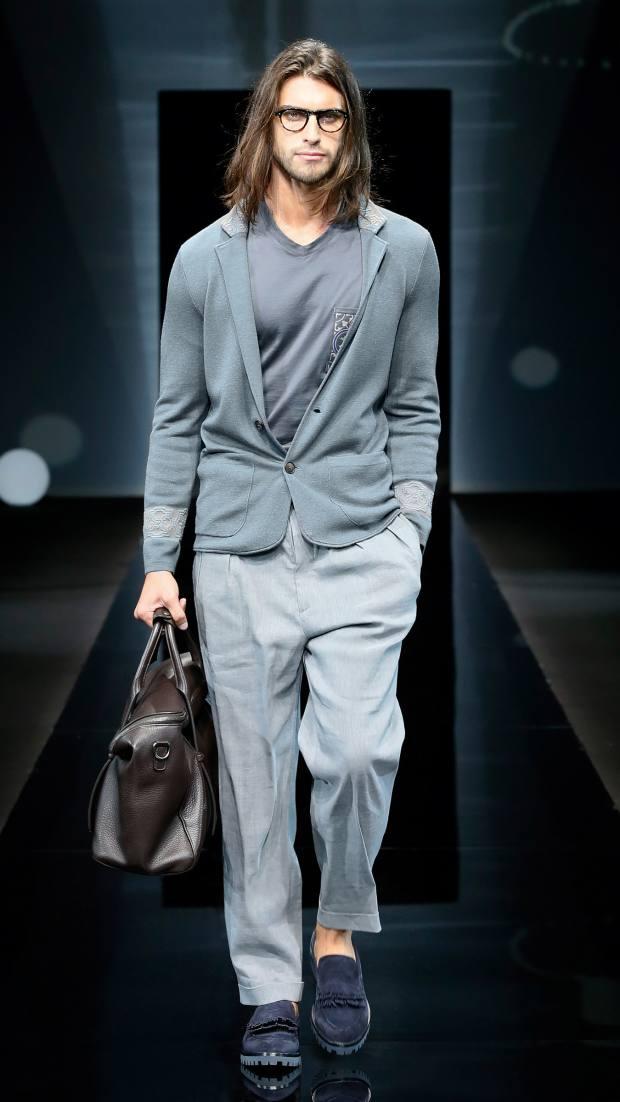 Giorgio Armani wool/silk jacquard jacket, £1,650, and stretch linen trousers, £590